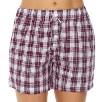 Hawiton Women's Plaid Cotton Sleeping Pajama Shorts Exercise Fitness Bottoms - Size X-Large Red