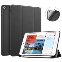 Fintie Case with Pencil Holder for iPad Mini 5 2019 - [SlimShell] Lightweight Soft TPU Back Protective Smart Stand Cover with Auto Wake/Sleep for New iPad Mini 5th Gen 2019, Black