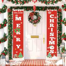 TOPLEE Merry Christmas Banner, 2020 New Year Xmas Decor Christmas Red Bright Porch Garland Sign Hanging Wall Door Xmas Decor Snowman Christmas Tree Print Banner for Xmas Party Outdoor Indoor Decor