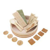 "BambooMN 13"" Sushi Oke Tub Hangiri with 19 Pieces Sushi Making Serving Accessory Kit"