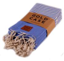 Gold Case Hera Small Peshtemal Set of 4 Turkish Bath Spa Yoga Tea Towel for Hand Face Kitchen 20x40 100% Cotton Blue