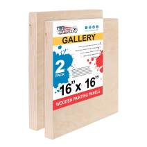 "U.S. Art Supply 16"" x 16"" Birch Wood Paint Pouring Panel Boards, Gallery 1-1/2"" Deep Cradle (Pack of 2) - Artist Depth Wooden Wall Canvases - Painting Mixed-Media Craft, Acrylic, Oil, Encaustic"