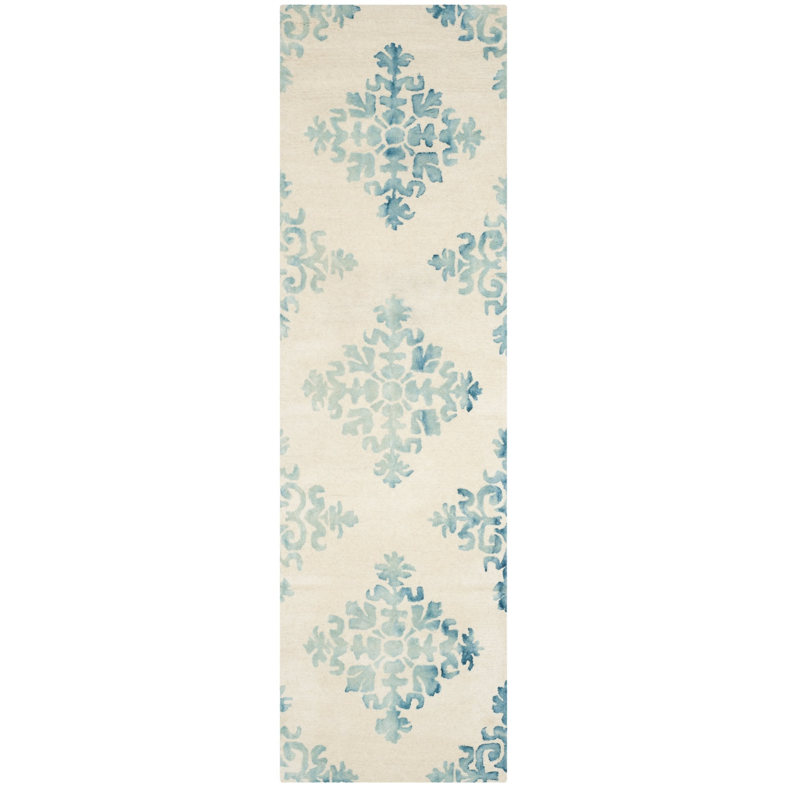 """Safavieh Dip Dye Collection DDY720Q Handmade Geometric Medallion Watercolor Ivory and Light Blue Wool Runner (2'3"""" x 6')"""