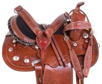 Acerugs 14 15 16 17 Western Cowgirl Silver Show Barrel Racing Pleasure Trail Leather Horse Saddle TACK Package