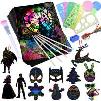 Scratch Paper Art Set for Kids - 101 Pcs Magic Rainbow Scratch Off Arts and Crafts Supplies Kits Sheet Pack for Children Girls Boys Birthday Game Party Favor Christmas Easter Best Craft Gift