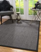Natural Area Rugs 100% Natural Fiber Handmade Shadows, Greyish Blue Sisal Rug, 8' x 10' Black Border