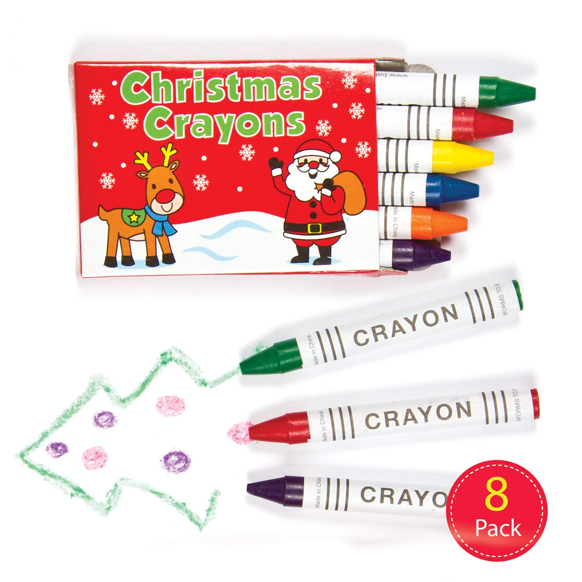 Baker Ross Mini Christmas Crayons — Creative Art Supplies for Kids' Crafts, Projects and Decorations, Perfect Party, Loot or Stocking Filler (Pack of 8 Sets)