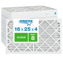 """Aerostar Clean House 16x25x4 MERV 8 Pleated Air Filter, Made in the USA, (Actual Size: 15 1/2""""x24 1/2""""x3 3/4""""), 6-Pack"""