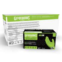 AMMEX GWGN46100 Gloveworks HD, Disposable Nitrile Gloves Powder Free, 9 mil, Large, Green (Case of 1000)