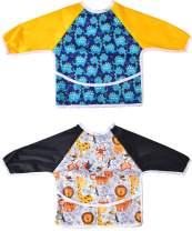 2 Pack Long Sleeved Bib Waterproof Bibs with pocket, 6 to 24 months Bibs for Toddler, Baby Bibs for Boys and Girls