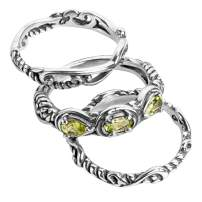 Carolyn Pollack Sterling Silver Gemstone Choice of Colors Stackable Set of 3 Rings Size 5 to 10