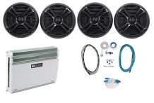 "4) Rockville RMSTS80B 8"" 2000w Marine Boat Speakers+MB Quart Amplifier+ Amp Kit"