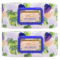Beauty Concepts Coconut and Tangerine Face Wipes & Makeup Remover Wipes - 2 Pack (60 Count Each) of Gentle Facial Cleansing Wipes, Lightly Scented – Flip Top Pack