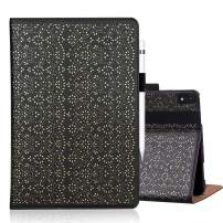 """WWW iPad Pro 12.9"""" Case 2018 3rd Generation,[Support Apple Pencil Charging][Luxury Laser Flower] PU Leather Case with Auto Wake/Sleep and Multiple Viewing Angles for iPad Pro 12.9"""" 3rd Gen 2018 Black"""
