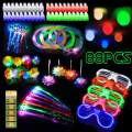 ThEast 88 PCS LED Light Up Toys Party Favors Glow in the Dark Party Supplies for Kids/Adults with 40 Finger Lights, 10 Jelly Rings, 5 Light Up Glow Glasses, 6 Light Up Balloons, 4 Bracelets, 4 Butterfly Fiber Optic Hair Lights, 4 Fiber Optic Hair Lights and 4 Crystal Necklaces, 11 PCS Accessories Bag