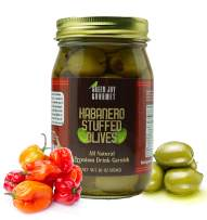 Green Jay Gourmet Habanero Stuffed Olives – Stuffed Green Olives for Cocktail Garnish & Cheese Board Recipes – Dirty Martini Olives & Cocktail Olives – Gourmet Olives – All Natural – Large – 16 Ounces