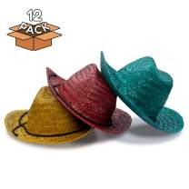 12 Pieces - Straw Cowboy Hat for Men & Women - Cowboy Party Favor Supplies - Assorted Colors