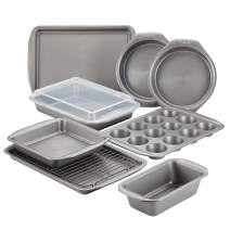 Circulon 47485 Nonstick Bakeware Set with Nonstick Bread Pan, Cookie Sheet, Baking Pans, Baking Sheet, Cake Pans and Muffin/Cupcake Pan - 10 Piece, Gray