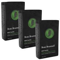 Body Soap Bar for Men by beau Brummell   Naturally Exfoliating Scrubbing Bar Soap With Activated Charcoal & Bamboo Powder   Oversized 6 OZ Bar (3-pack)