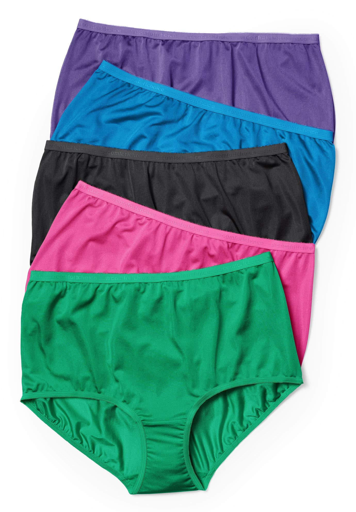 Comfort Choice Women's Plus Size 5-Pack Nylon Full-Cut Brief