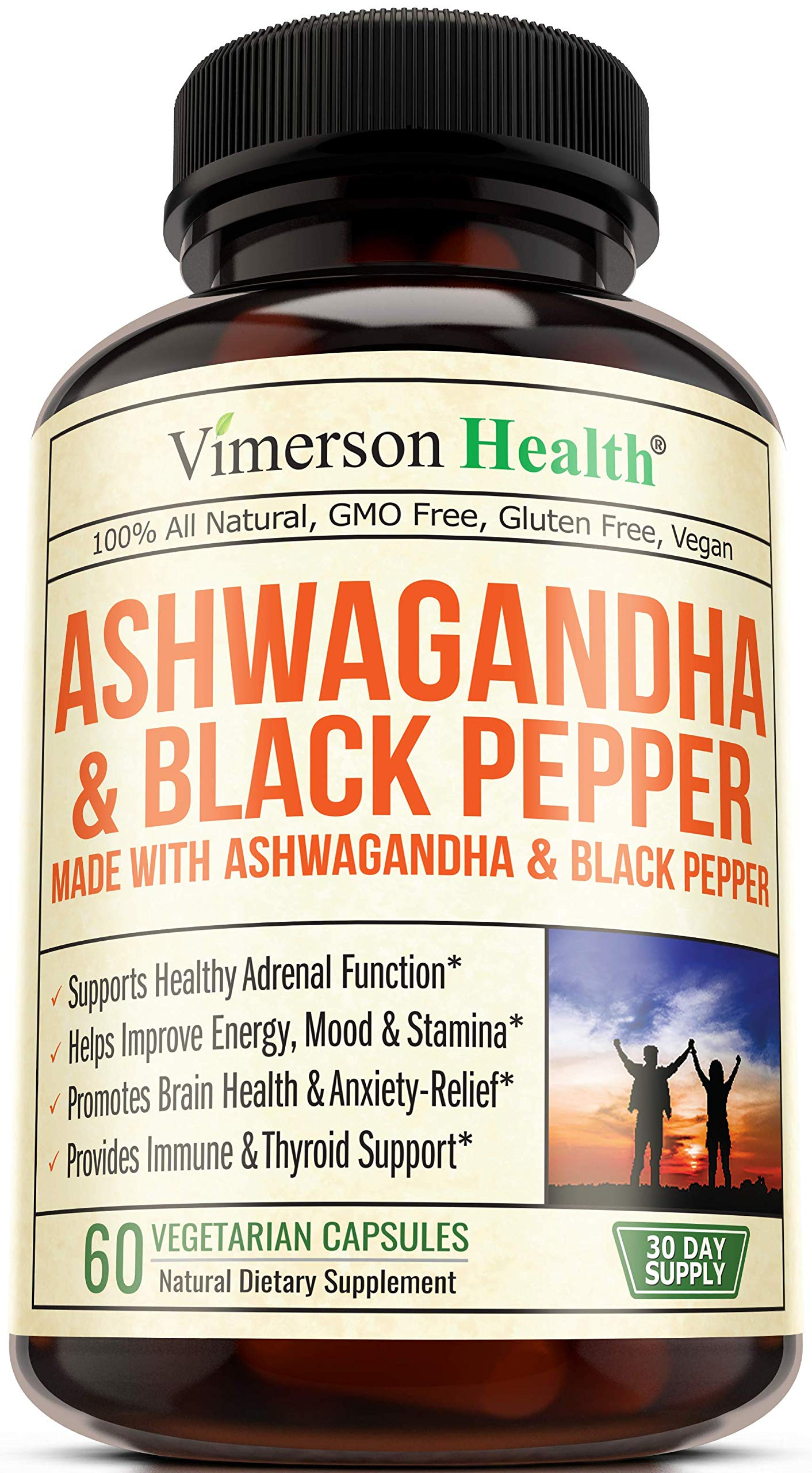 Ashwagandha with Black Pepper 1300 milligrams Supplement Made with Organic Root Powder Extract. Relief from Occasional Anxiety and Stress. Adrenal and Thyroid Health, Energy, Brain and Immune Health.