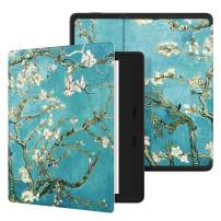 "Ayotu Colorful Case for All-New Kindle Oasis (10th Gen, 2019 Release & 9th Gen, 2017 Release) PU Leather Smart Waterproof Cover,Auto Wake/Sleep,ONLY Fits All-New 7"" Kindle Oasis,KO The Apricot Flower"