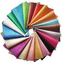 Misscrafts 20pcs Sparkly Glitter Fabric Bundle Thick Glitter Canvas Back Sequins 12.6 x 8.6 Inch (32 x 22 cm) for Craft DIY Hair Clips Hat Making