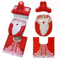 WINZIK 3Pcs Christmas Bathroom Decoration Santa Snowman Toilet Seat Cover Rug Set Tank Cover Tissue Box Cover Bathroom Ornaments (One Size Fits Most, Style 3-Santa)