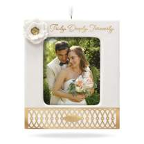 Hallmark Keepsake Christmas 2019 Ornament, Year Dated Truly. Deeply. Forever. Porcelain and Metal Photo, Wedding Frame