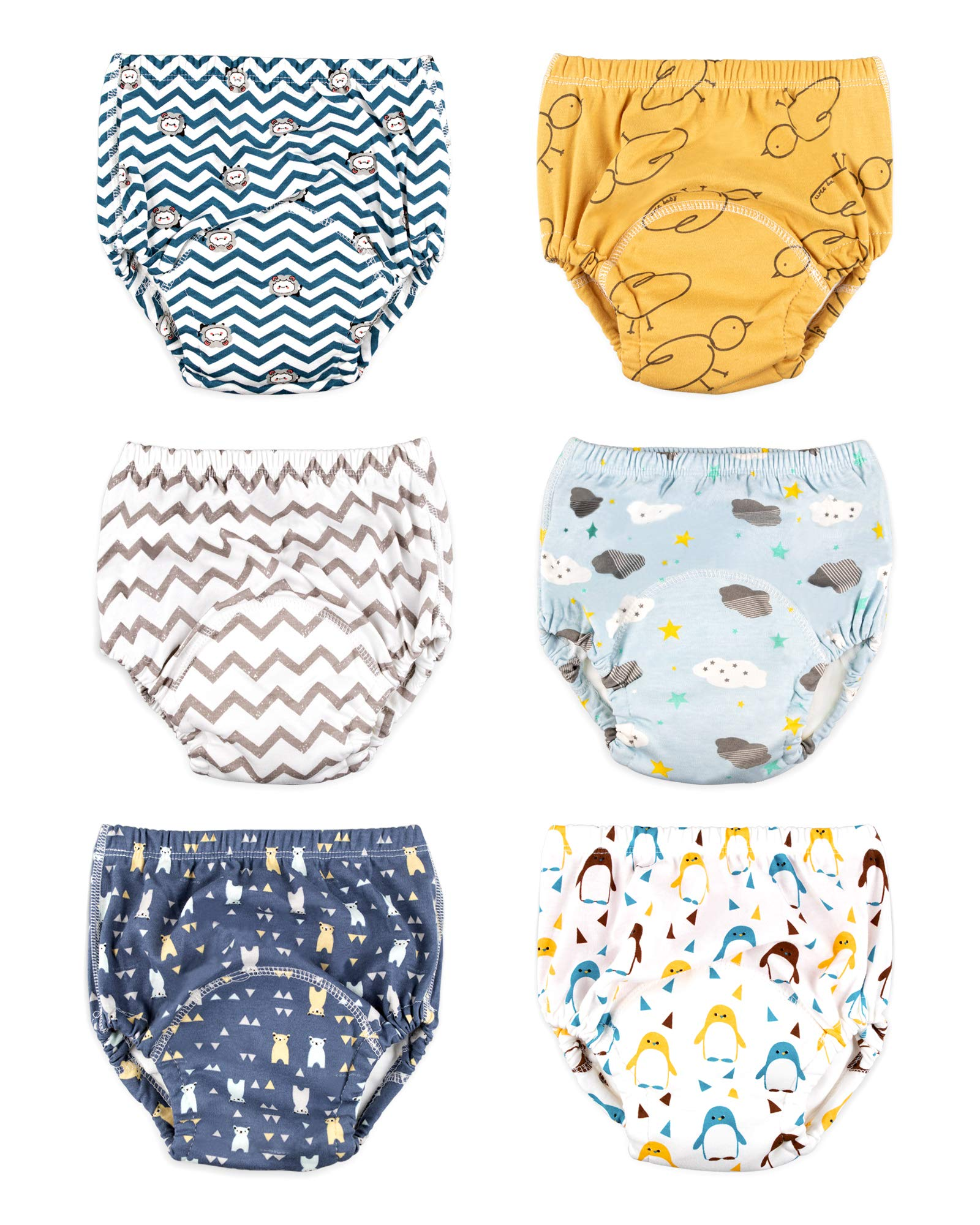 Max Shape Baby Boys Toddler Boys Potty Training Pants Underwear, Padded Cotton Pee Training Pants for Toddler Boys 6 Pack