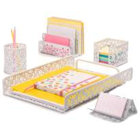 Hudstill White Desk Organizer Set for Women in Damask Design with 5 Office Supplies Accessories : File Tray, Mail Sorter, Pen Cup, Sticky Notes Holder and Business Card Holder