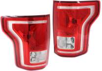 Tail Light Set of 2 Compatible With 2015-2017 Ford F-150 Clear & Red Lens Halogen With bulbs CAPA Driver and Passenger Side
