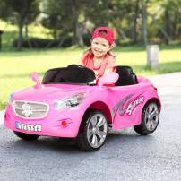Kuntai Kids Ride on Car Toy Dual Drive Electric Cars for Kids Battery 12V with 2.4G Remote Control, Led Headlights, Horn& MP3 Player (Pink)