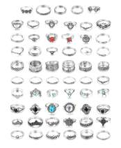 LOLIAS 66 Pcs Vintage Knuckle Ring Set for Women Girls Stackable Rings Set Hollow Carved Flowers