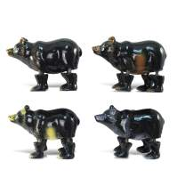 CoTa Global Black Bear Refrigerator Bobble Magnets Set of 4 - Assorted Color Fun Cute Wild Life Animal Bobble Head Magnets For Kitchen Fridge, Home Decor, Cool Office and Decorative Novelty - 4 Pack