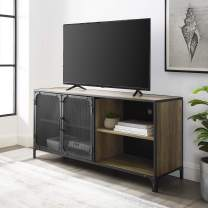 """Walker Edison Industrial Metal Mesh Stand with Cabinet Doors 58"""" Flat Screen Universal TV Console Living Room Storage Shelves Entertainment Center, 52 Inch, Reclaimed Barnwood Brown"""