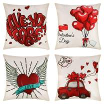 JOELELI Set of 4 Valentines Day Throw Pillow Covers 18 x 18 Inch, Truck Red Heart and Love Linen Square Decorative Cushion Cover Pillowcase for Sofa Couch Home Decor Valentine's Gifts