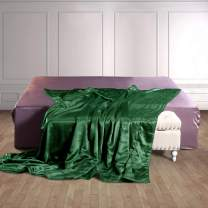 THXSILK 100% Silk Throw Blanket for Bed/Couch Top Grade Long-Strand Silk Quilted Bedspread Soft & Cozy (Emerald Green, King)