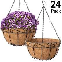 Ashman Metal Hanging Planter Basket with Coco Coir Liner Round Wire Plant Holder Chain Porch Decor Flower Pots Hanger Garden Decoration Indoor Outdoor Watering Hanging Baskets, 24 Pack