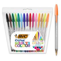 BIC Cristal Multicolour Ballpoint Pens Wide Point (1.6 mm) - Assorted Colours, Pack of 15