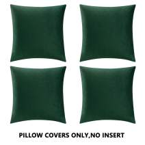 COMFORTLAND Throw Pillow Covers 16x16 Amy Green: 4 Pack Cozy Soft Velvet Square New Year/Christmas Decorative Pillow Cases for Farmhouse Sofa Couch Bed Chair Home Decor Decorations