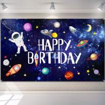 Outer Space Happy Birthday Photography Background Astronaut Rocket Backdrop Banner Astrology Astronomy Planet Galaxy Photo Background for Children's Birthday Galaxy Planet Party Photo Booth Backdrop