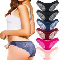 Kingfung 3-6 Pack Women's Invisible Seamless Bikini Underwear Half Back Coverage Panties