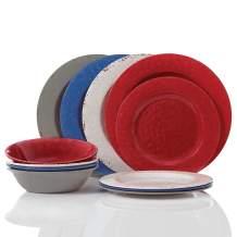 Gibson Brist Pastels 12 pc Dinnerware Set - Melamine, Red, White, Blue, Grey - 116845.12
