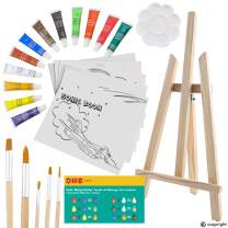 ETI Toys, 26 Piece Kids Art Painting Set with Wood Easel, 6 Airplanes and Helicopters Themed Canvases, 12 Color Acrylic Paints, 5 Paint Brushes, Palette. Arts Studio for Artist Children Ages 6+ Years