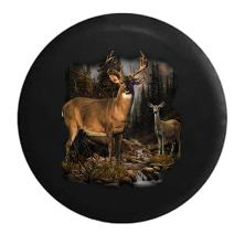 American Unlimited Buck and Doe in The Woods at a Stream Hunting Outdoors Spare Tire Cover (Fits: Jeep Wrangler Accessories or SUV Camper RV) Black 33 in