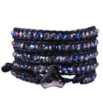 C·QUAN CHI Braided Wrap Strand Bracelets Women Man Hematite with SliverBeaded Bracelets Handmade Cord Adjustable-Best Friends Bracelets,5 Wraps Bracelet