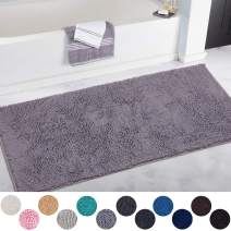 DEARTOWN Non-Slip Shaggy Bathroom Rug,Soft Microfibers Chenille Bath Mat with Water Absorbent, Machine Washable(Silver Grey,31x59 Inches)