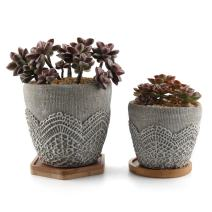 T4U Cement Lace Pattern Succulent Plant Pot/Cactus Plant Pot Container Planter Classic Design Collection with Bamboo Tray - Pack of 2
