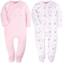 2 Packed Pink Footed Baby Girls Pajamas Fold-Over Hands Long Sleeve Romper for Baby